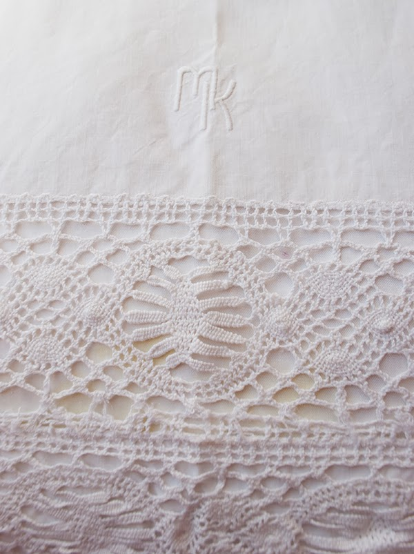 antique crochet Euro shams