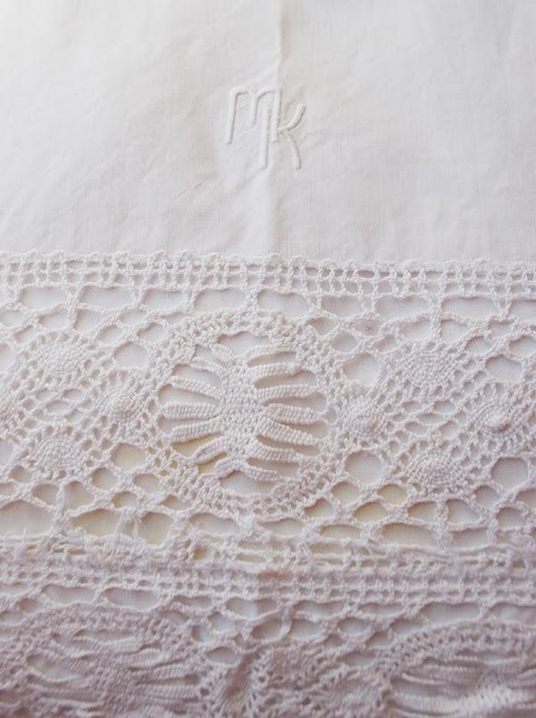 antique crochet Euro shams