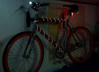 EL wire or electroluminescent on bike with head light and tail light