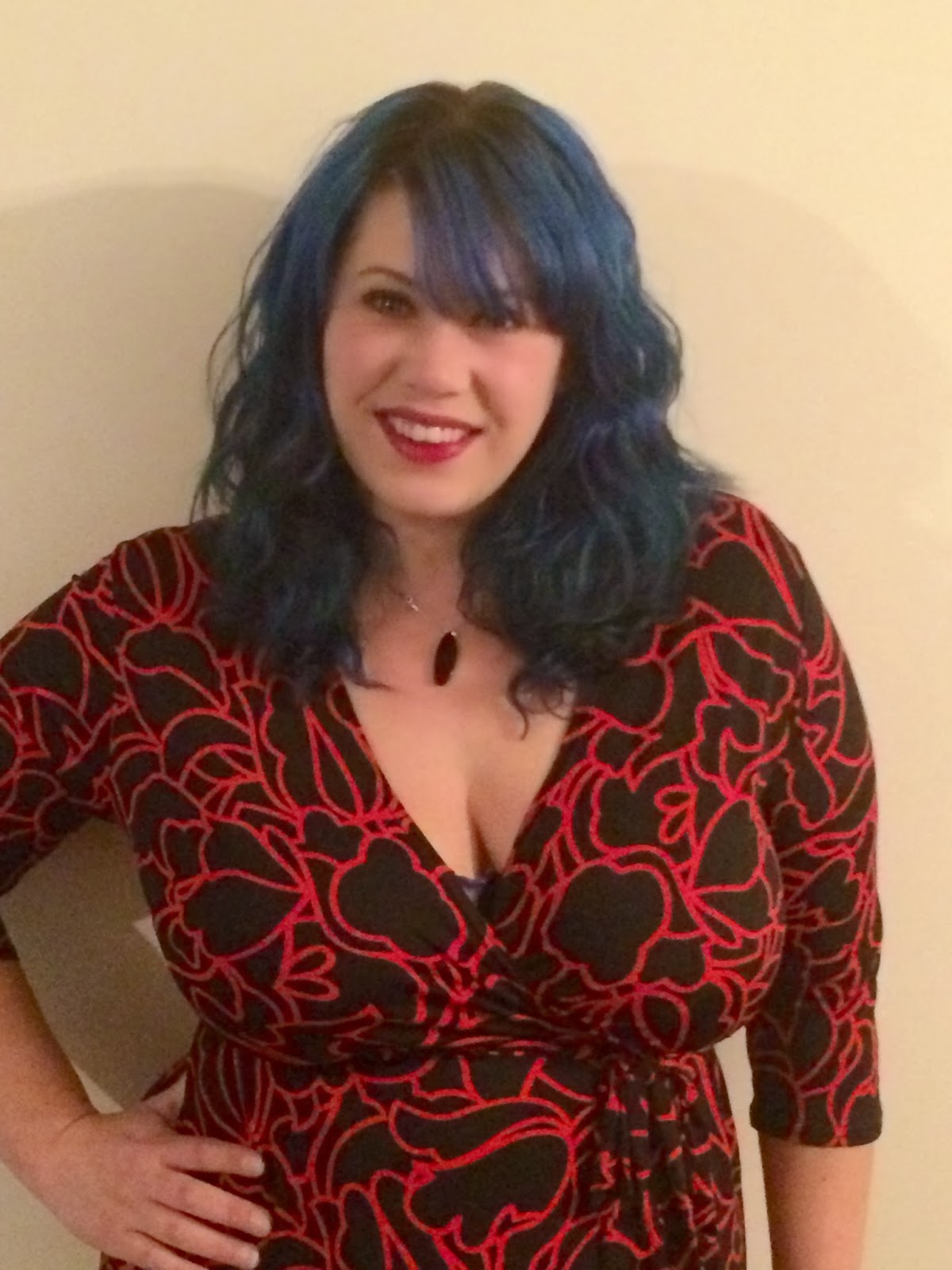 blue hair, red dress, fashion,