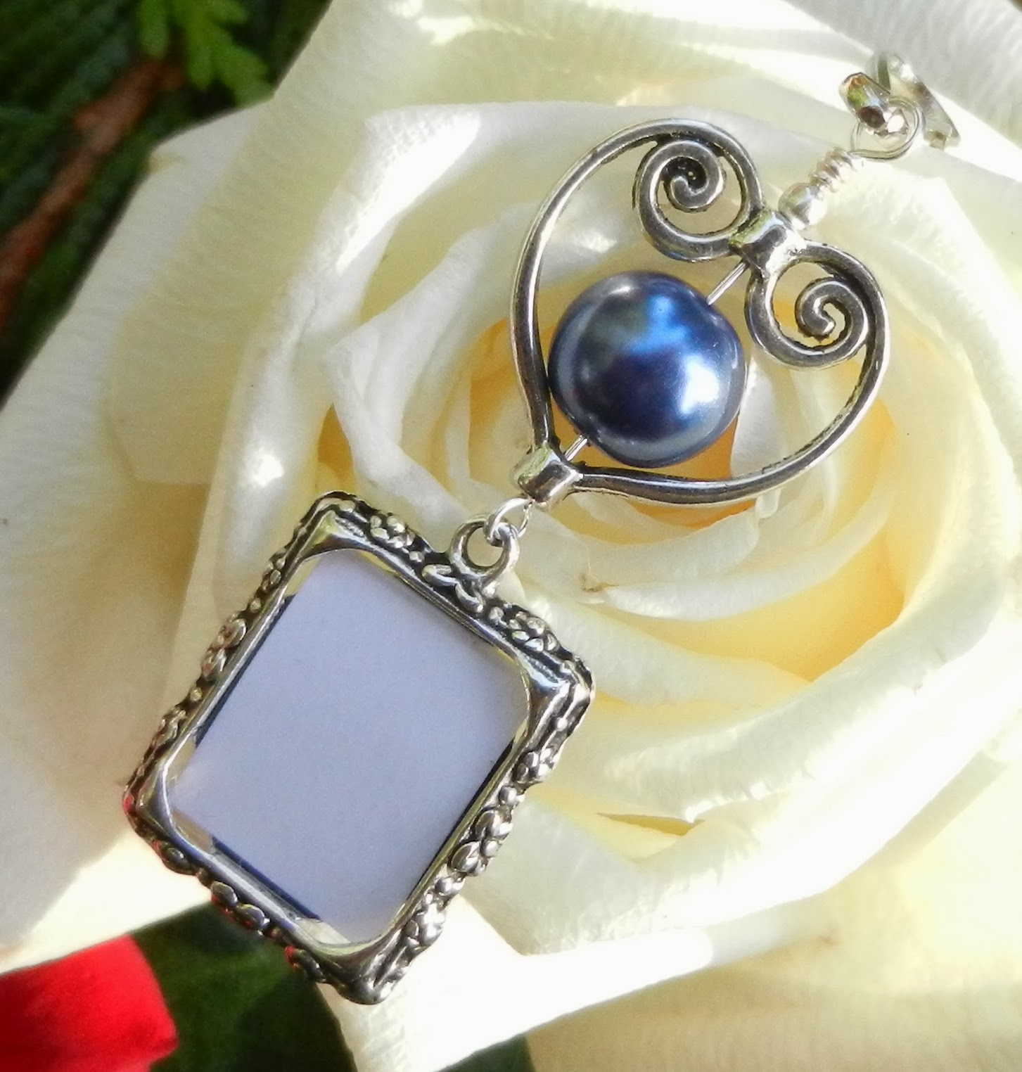 wedding bouquet memorial charm galaxy blue photo charm