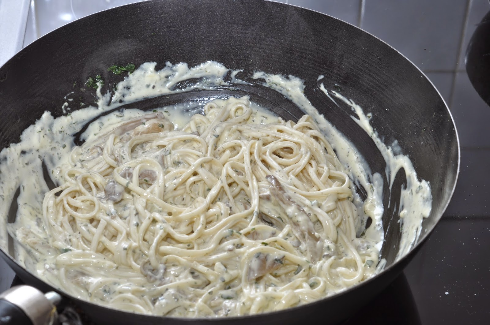 Noodles in White Wine and Oyster Mushroom Sauce ~ Simple Food
