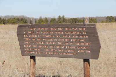 photo of prairie restoration sign at Wild River State Park