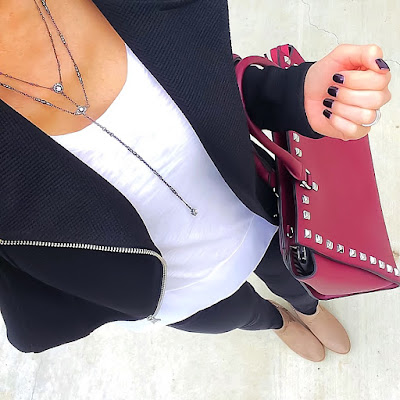 Express Moto Jacket, Crepe Hem Tee, Black Jeans, Taupe Booties, MyLux Handbag, Kendra Scott Coby Necklace