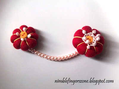 red chain brooch, red brooch, red fabric brooch