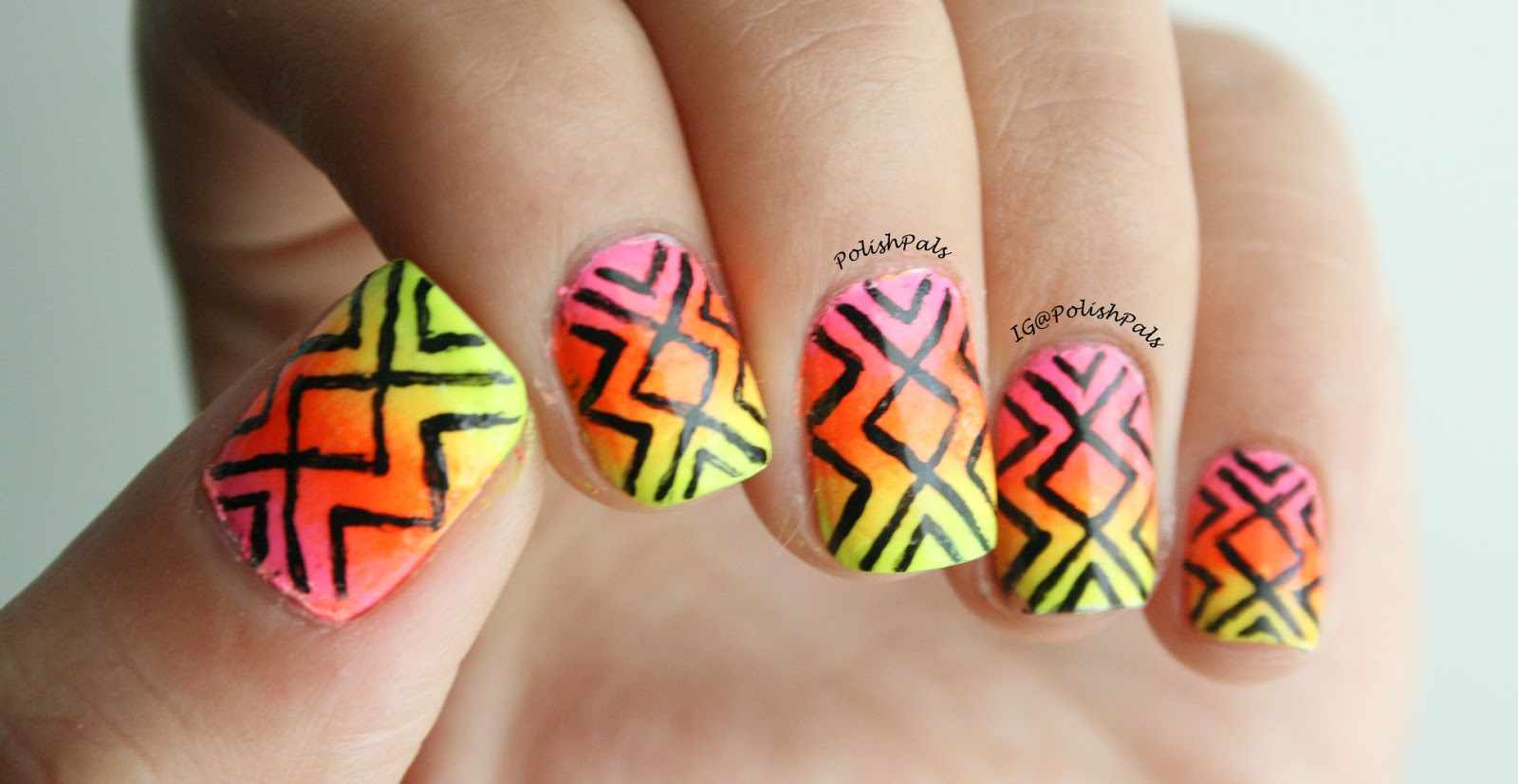 Polish Pals Neon Tribal Nails Tutorial