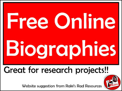 Free online biographies for research projects - website suggestion from Raki's Rad Resources.