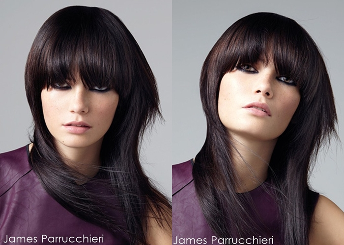 layered textured hair with blunt bangs hairstyle