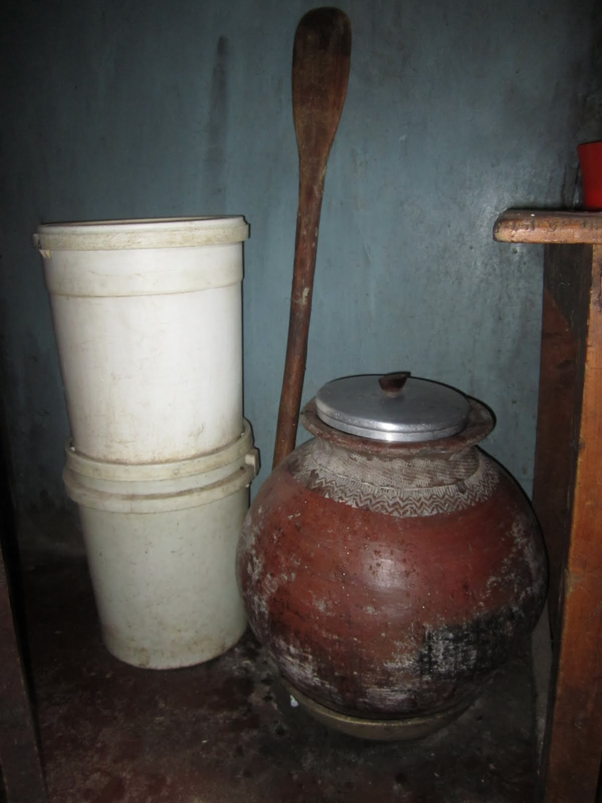 This is the part of the kitchen hidden by the doorway in the previous photo the hardened ceramic jug was what momma mary liked the call the african