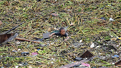 A boy amongst the debris caused by Typhoon Saola in Philippines