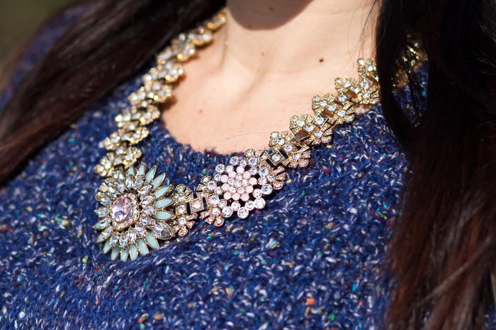 Flor cristales maxi collar dorado Accesorios Complementos bisutería withorwithoutshoes Blogger detalles
