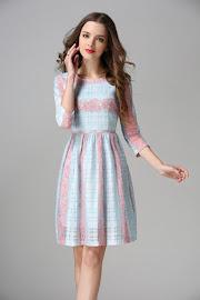 Three-Designs Three Quarter Sleeve Lace Cotton Flare Dress