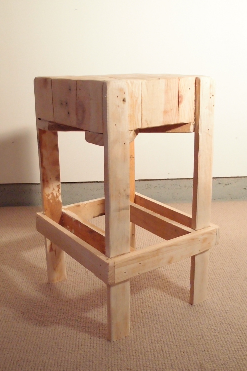 Aaron m chopper pallet wood stool for Stools made from pallets