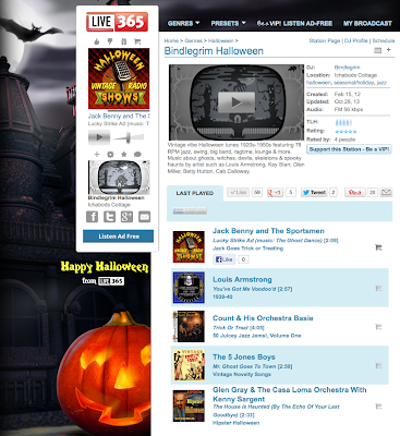 Screenshot of Bindlegrim Halloween radio on live365 - a broadcast of old vintage Halloween music from the 1910s, 1920s, 1930s, 1940s, 1950s