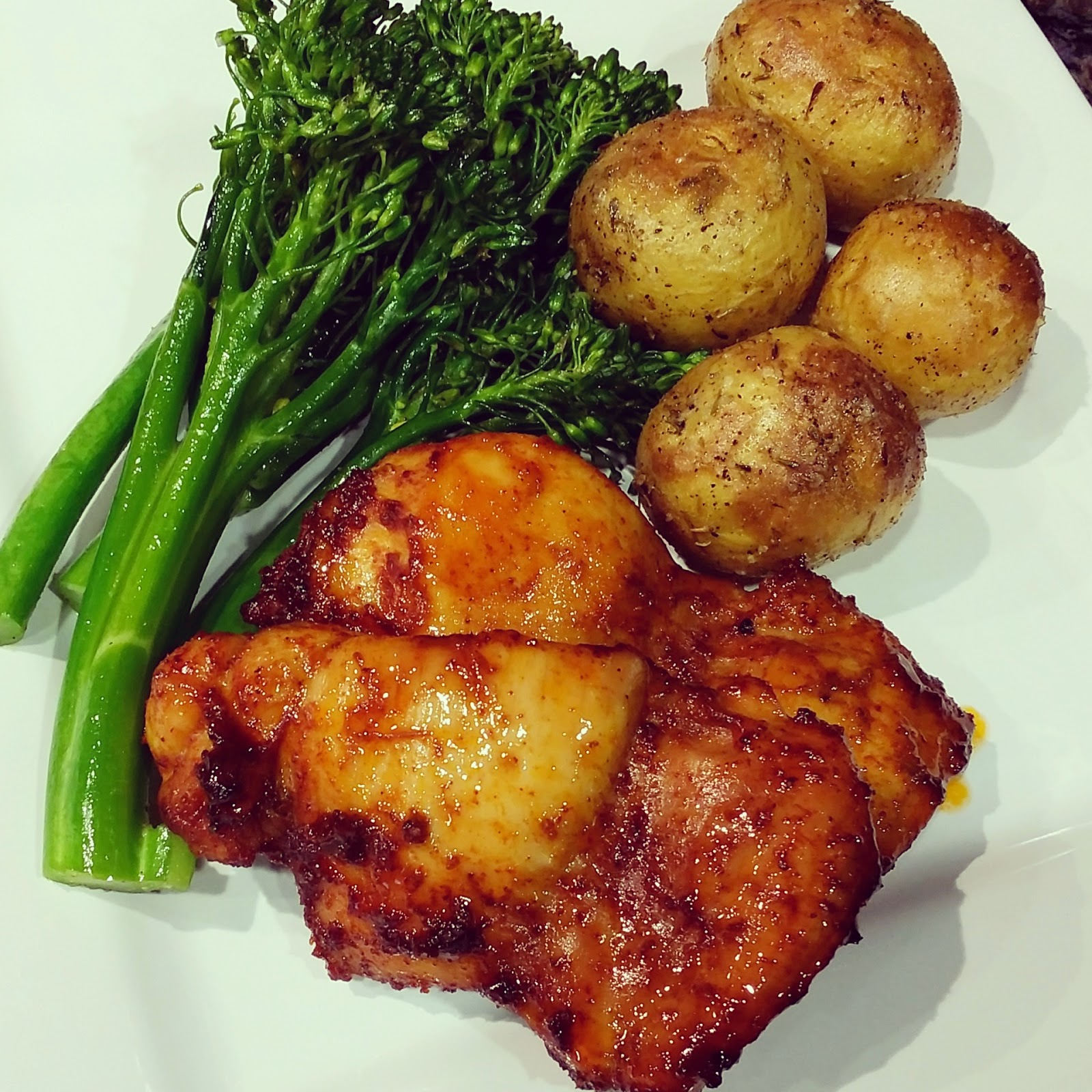 Spicy Honey Brushed Chicken Thighs Recipe — Dishmaps