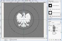 Okręgi namalowane wokół obiektu - zrzut ekranu gimp