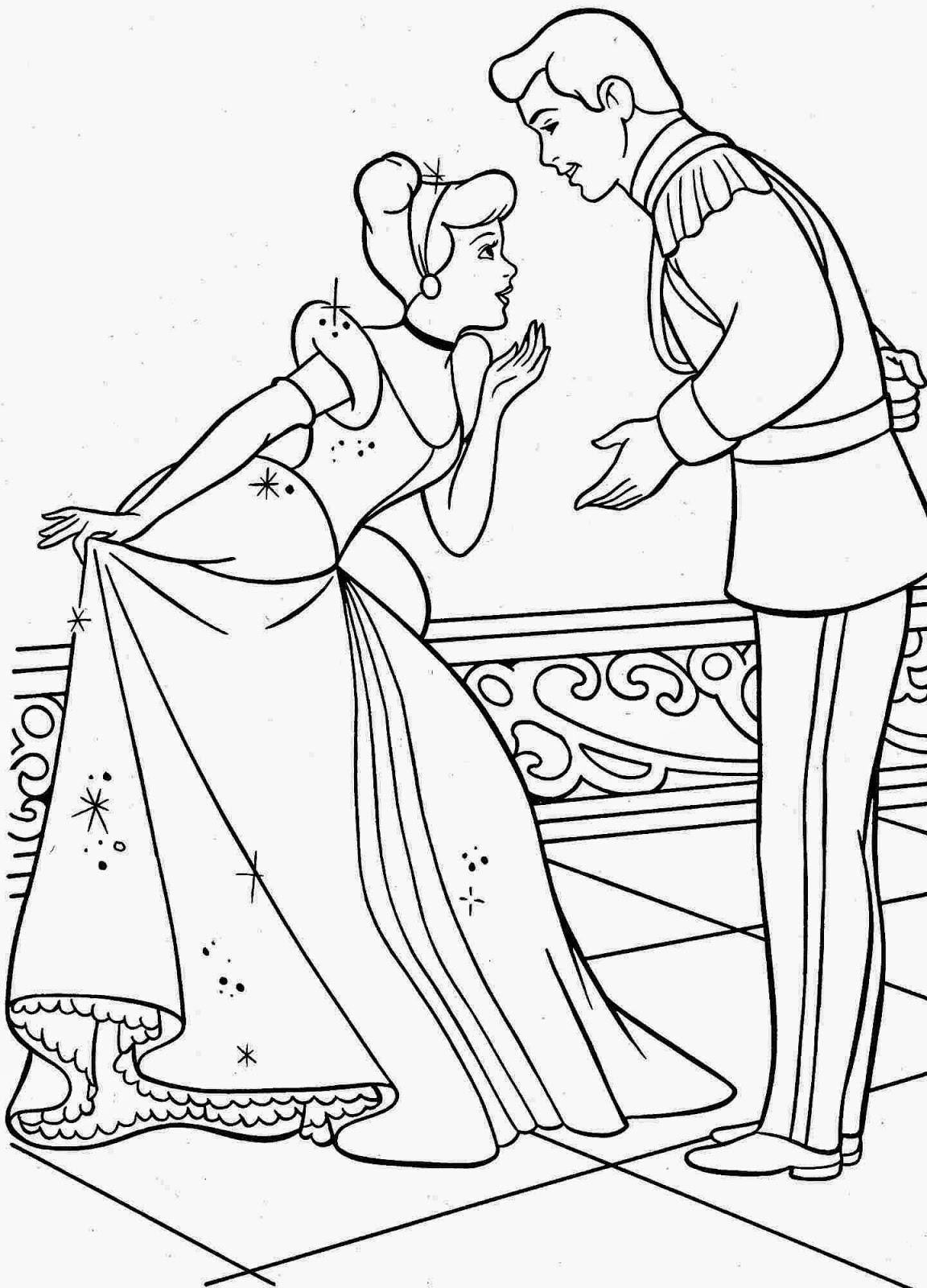Mewarnai gambar princess cinderella untuk anak 11