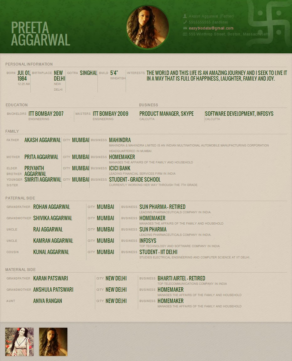 Marriage Biodata for download