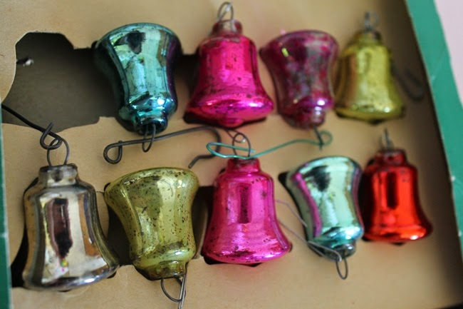 vintage glass bell retro christmas ornaments