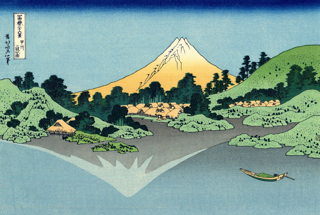 grabado del monte fuji de hokusai