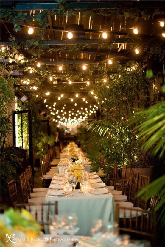 Nighttime Backyard Party : Calling it Home Outdoor Dinner Party