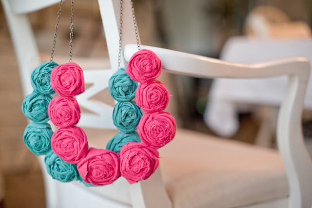 Fabric Rolled Flower Necklace Tutorial
