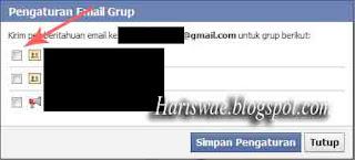 stop pemberiathuan email grup facebook, masalah kiriman email dari grup, berhebti berlangganan pemberitahuan