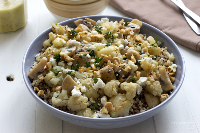 La cocina de aisha ensalada de quinoa coliflor y champi ones for Cuanto se cocina la quinoa