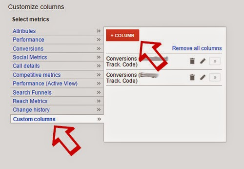 Google AdWords Custom Columns.