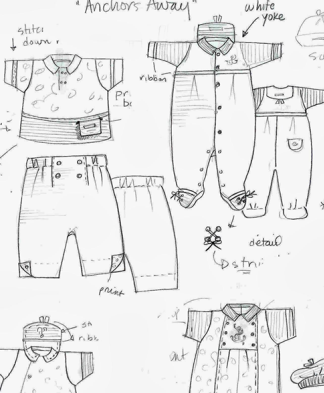 szkice ubranek dziecięcych