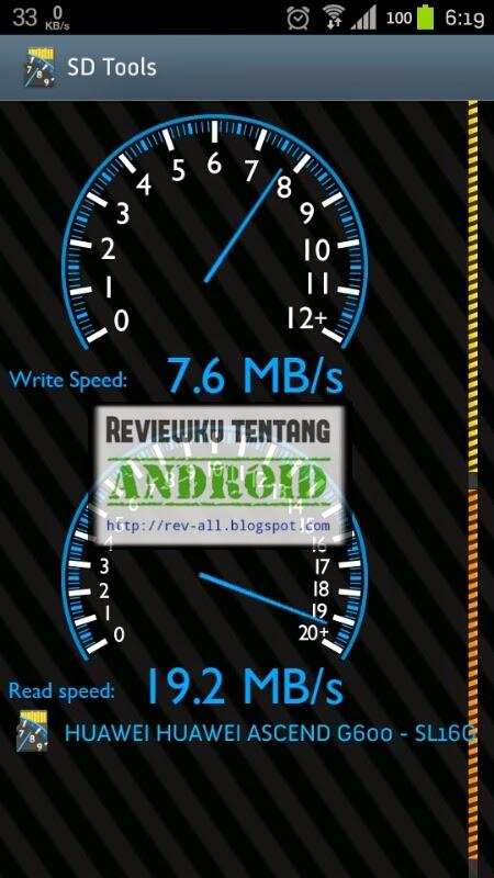 Hasil tes SD Tools versi 3.5 - aplikasi android untuk mengetes kecepatan baca dan tulis memori penyimpanan eksternal (ulasan oleh rev-all.blogspot.com)