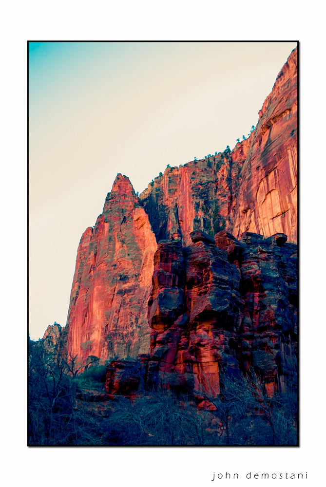 Zion National Park, Landscape Photography, Mountains, rocks, rugged terrain, sunset, colorful geological features, Wingate Sandstone Mountain