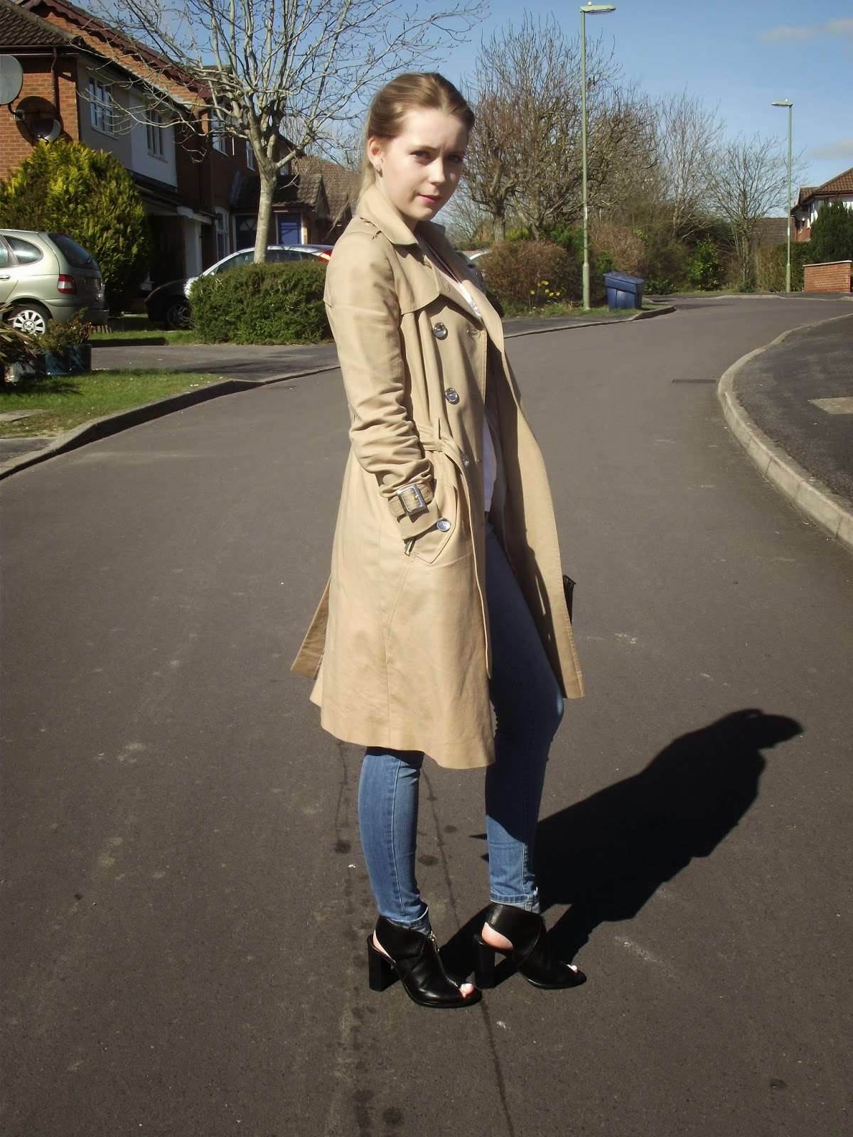 "Outfit Post ""Trench"" featuring River Island Trench Coat on Fashion Blog ""Laura Rebecca Smith""."
