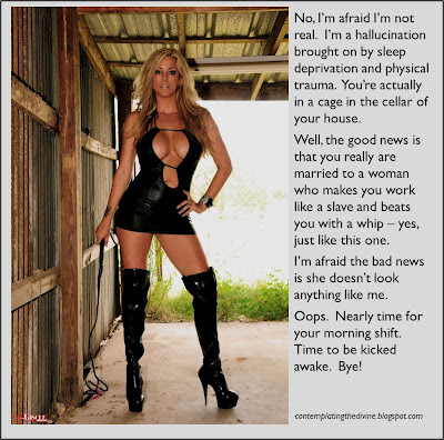 Fake blonde dominatrix in slave husband dreams