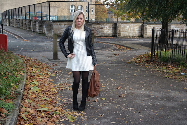 Rare London White Quilted shift dress