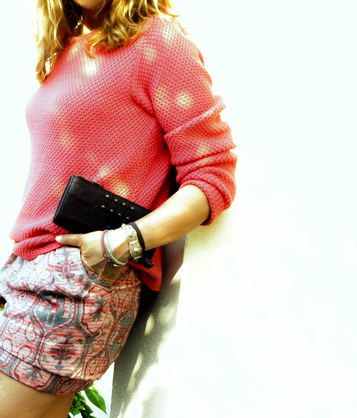 Boden Stitch Sweater, Maje skirt, Ferragamo Varina, Pink sweater,