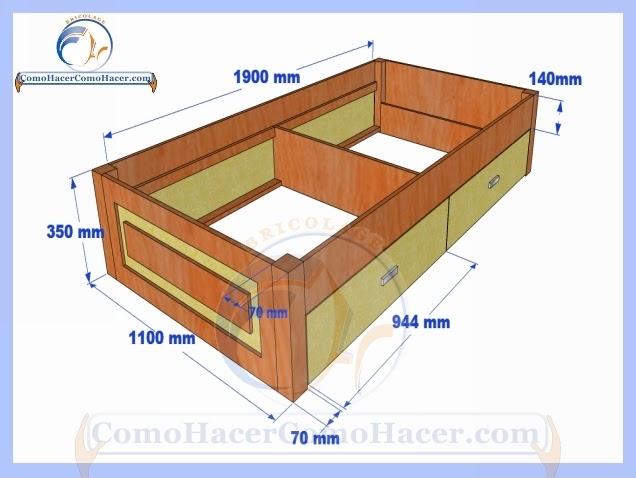 C mo hacer una cama medidas plano gu a construcci n web for Cuanto mide una cama queen size