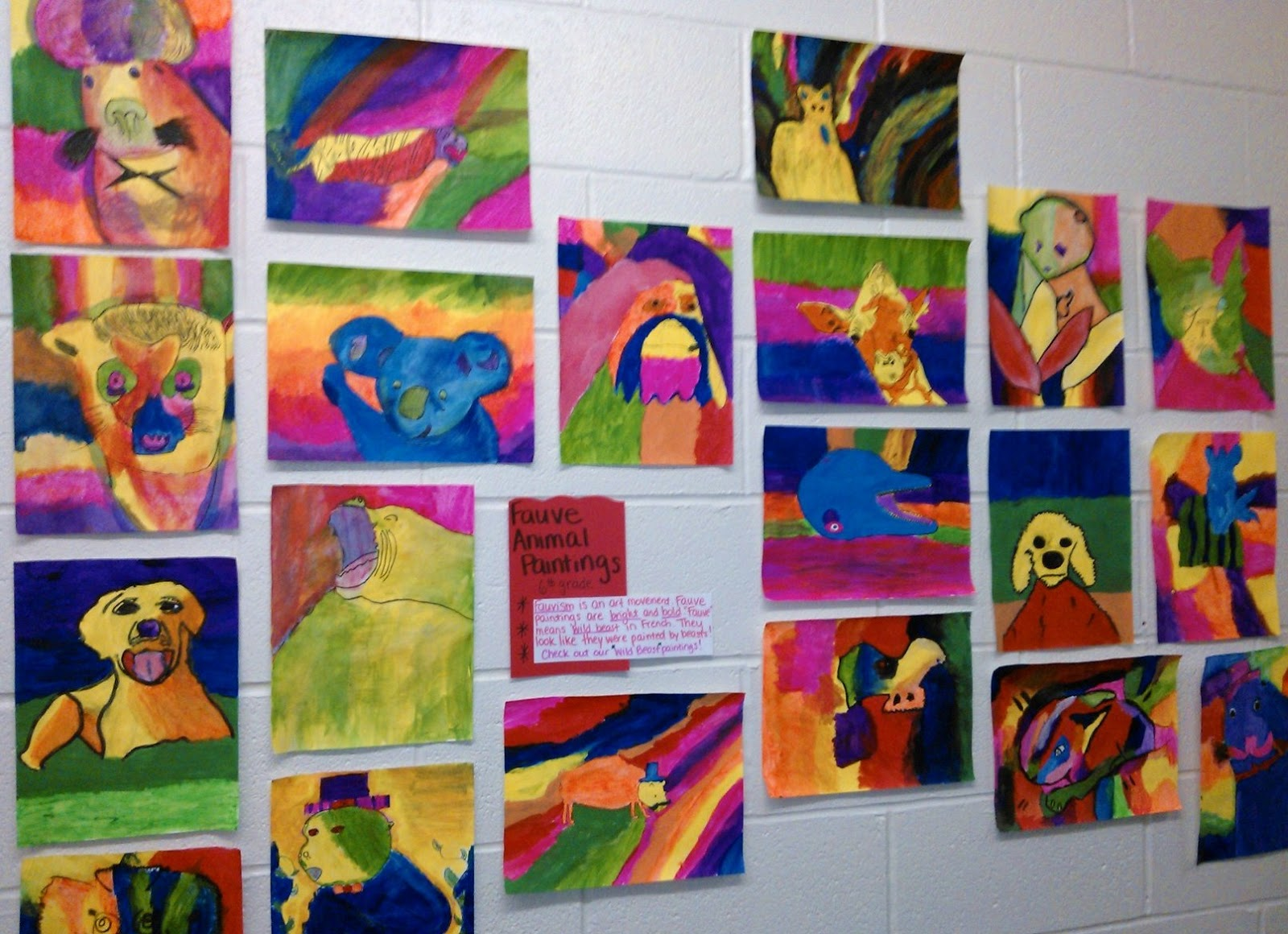 Inspired By The Definition Of Movement And Playful Imagery Students Created Animal Paintings Using Bright Colors