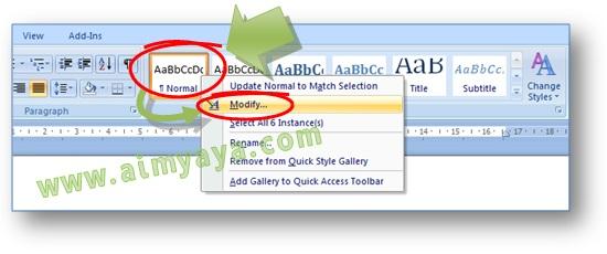 Gambar: Cara merubah format style yang ada di daftar Quick Style Microsoft Word 2007