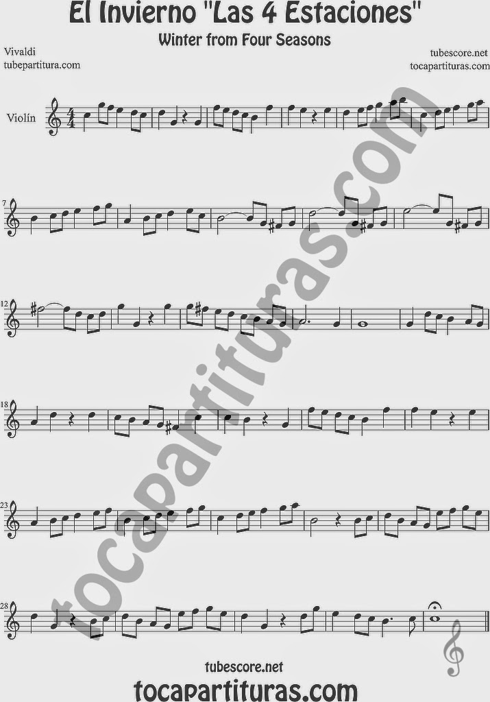 El Invierno de Vivaldi Partitura Fácil  de Violín Las cuatro estaciones Sheet Music for Violin Music Scores Music Scores Easy Winter Sheet Music
