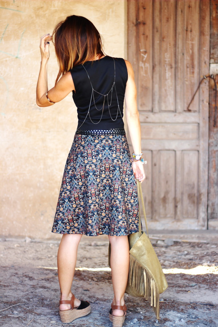 Falda midi - streetstyle - cuchicuchi joyas - Calzados Sandra - Parfois - Fashion blogger