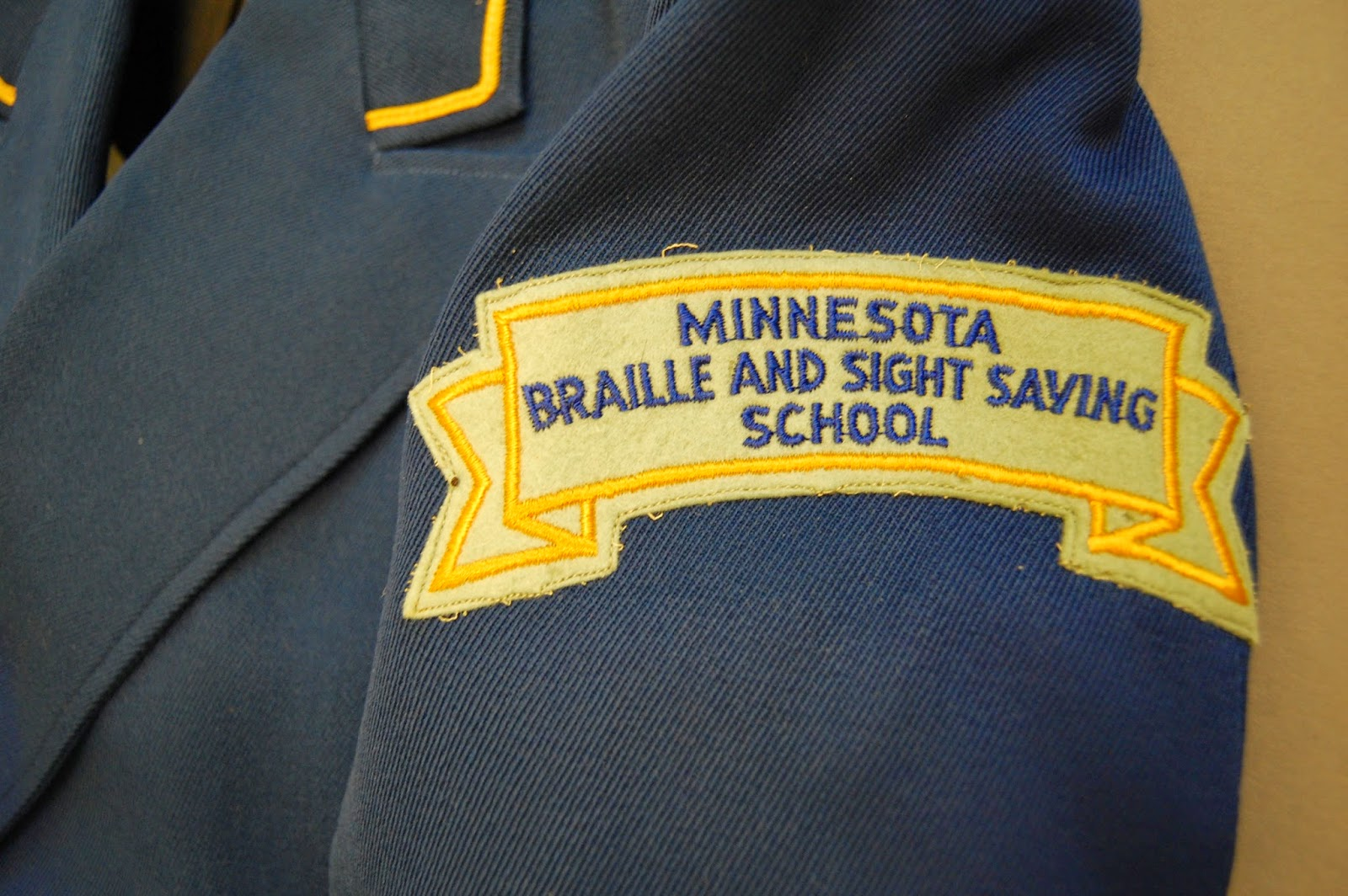 Minnesota Braille School for the Blind band uniform close up view