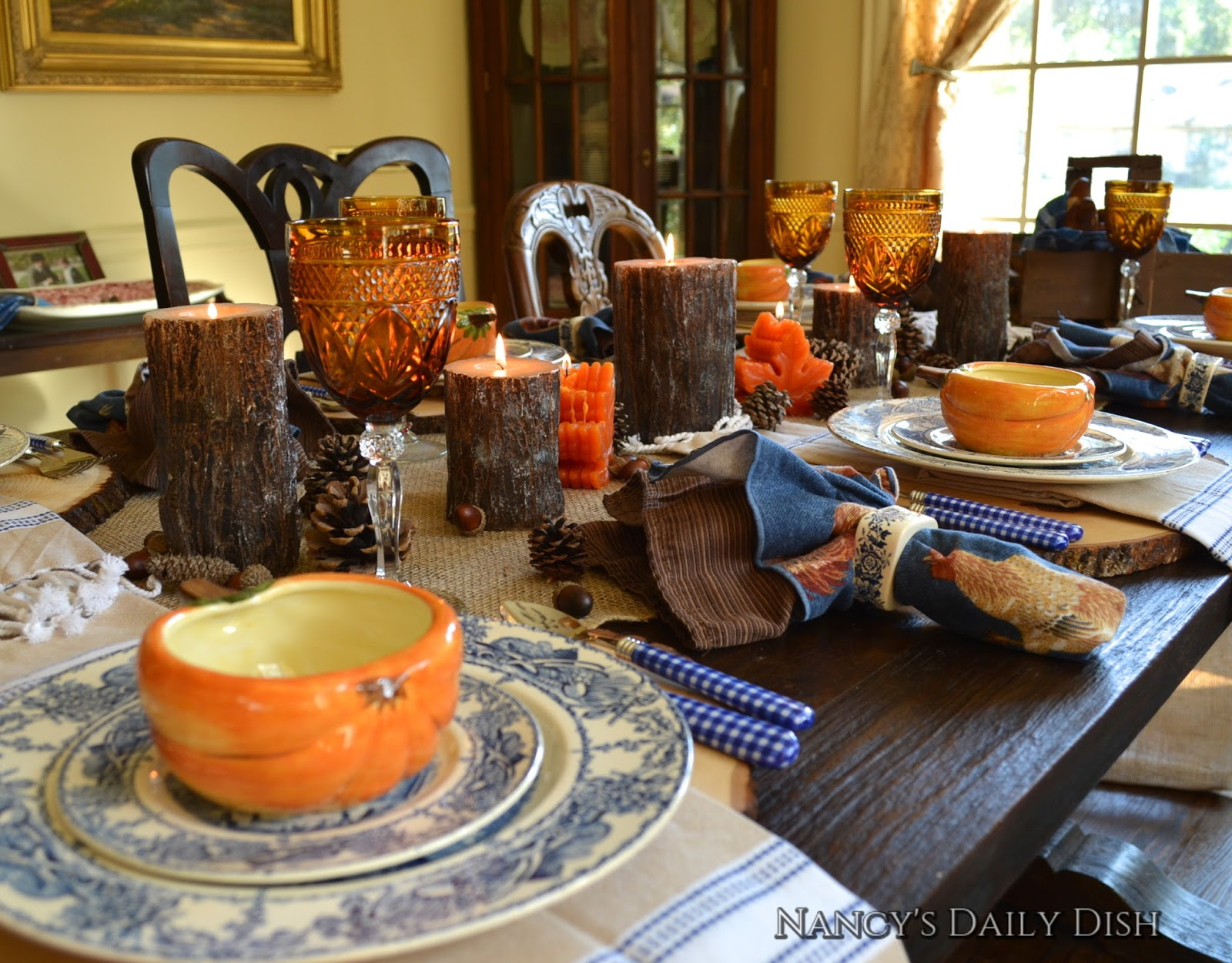 Fall Table Scapes Nancys Daily Dish Amber Blue Pumpkins Too Fall Tablescape