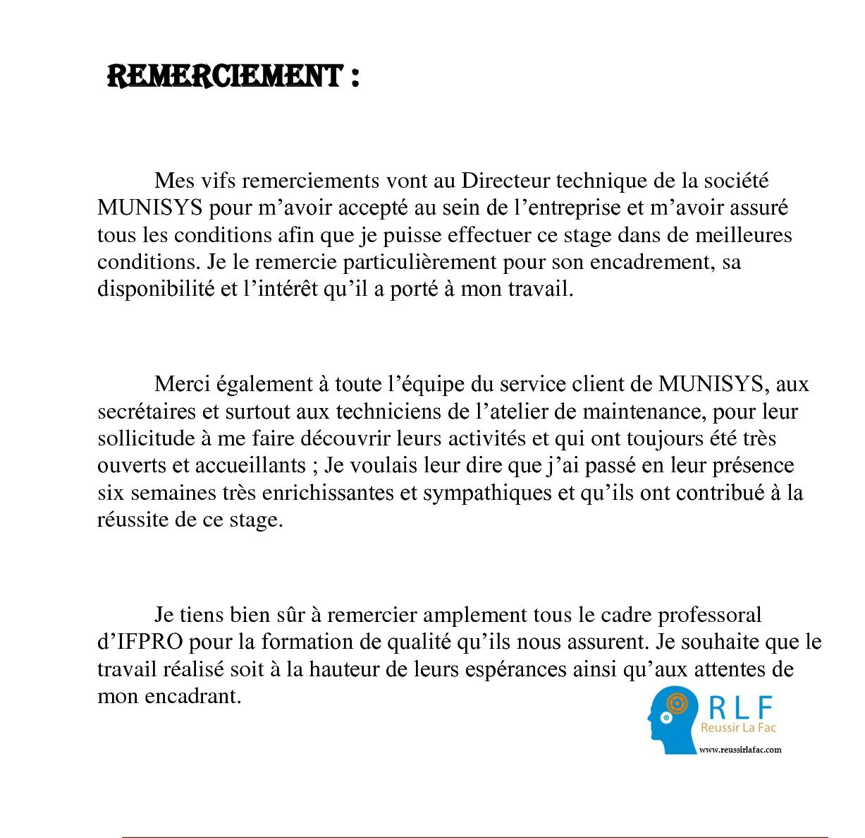 Rapport De Stage Remerciement
