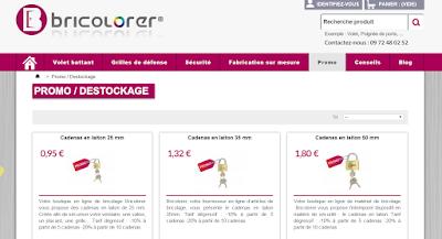 Rubrique promos sur le site Bricolorer.
