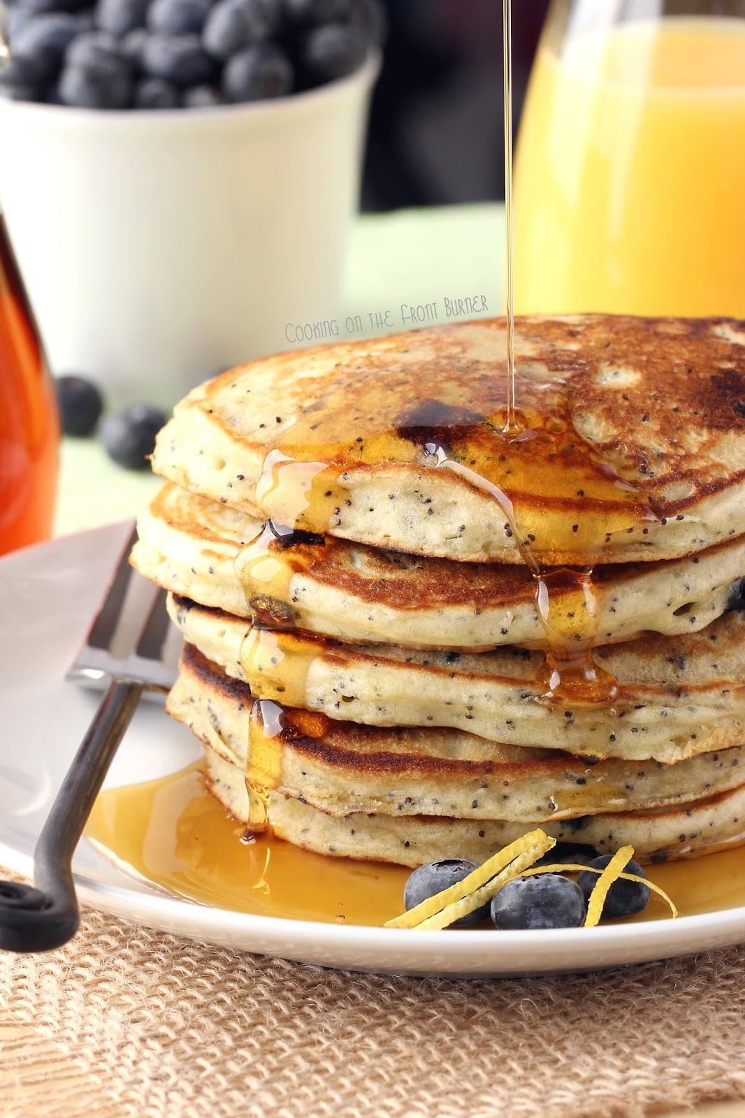 Lemon Blueberry Poppy Seed Pancakes | Cooking on the Front Burner #poppyseepancakes