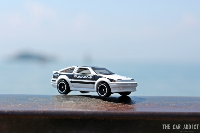 white Toyota Corolla AE85 HotWheels Modelcar in Friedrichshafen at the Lake of Constance