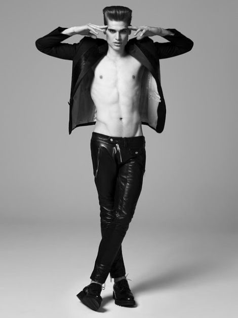 Louis Lemaire shirtless in Vanitas Magazine