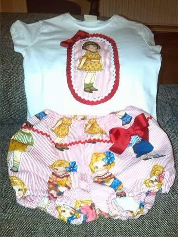 camiseta y pantalon bombacho con tela de muñecas