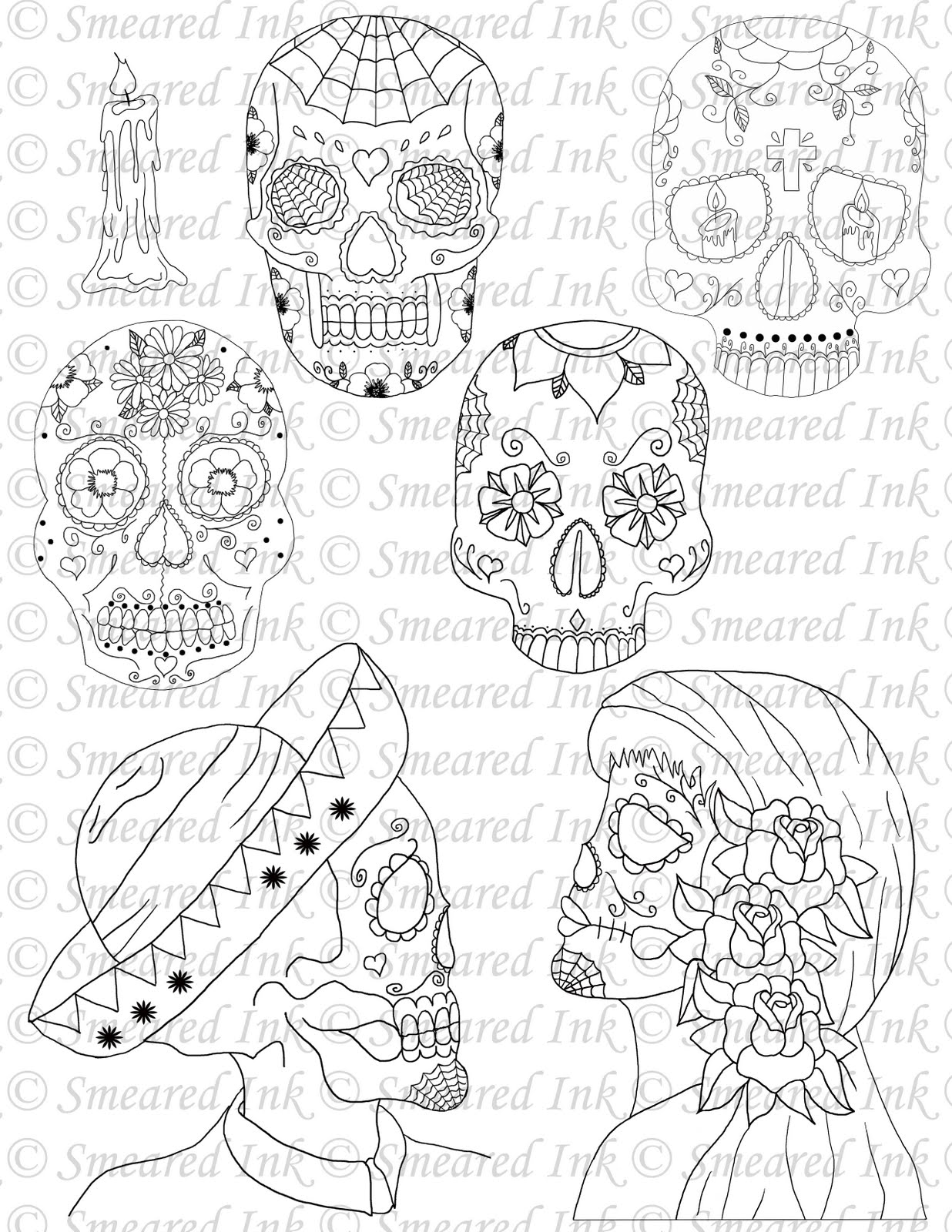calavera catrina coloring pages - photo#28